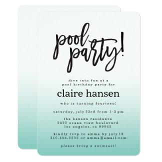 スタイリッシュで10代のなプールを囲んでのパーティの誕生日の招待状 カード