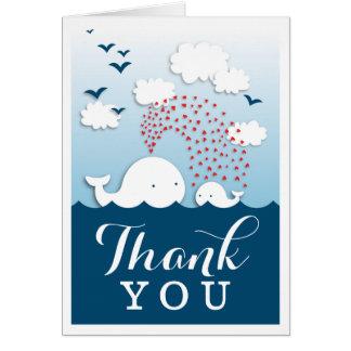 スタイリッシュなかわいく白いクジラはメッセージカード感謝していしています カード