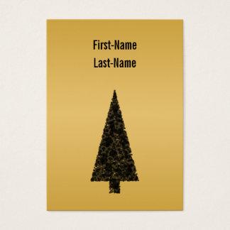 スタイリッシュなクリスマスツリー。 黒および金 名刺