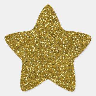 スタイリッシュなグリッターの金ゴールド 星シール
