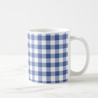 スタイリッシュなコーヒー・マグ、BlueCheckの暗いギンガム コーヒーマグカップ