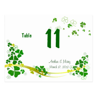 スタイリッシュなシャムロックのテーブル数カード ポストカード