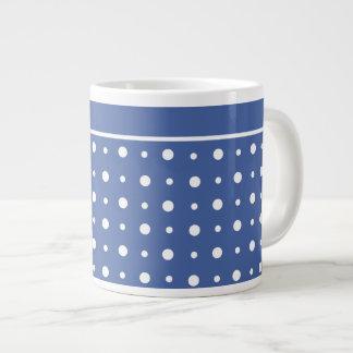 スタイリッシュなジャンボサイズのマグ、濃紺の水玉模様 ジャンボコーヒーマグカップ
