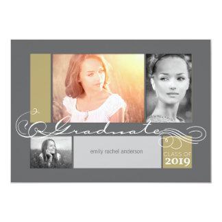 スタイリッシュなスクロール卒業の写真の発表 カード
