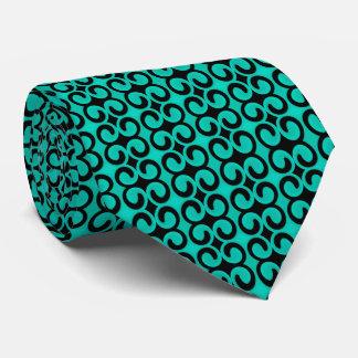 スタイリッシュなターコイズおよび黒いパターン ネクタイ