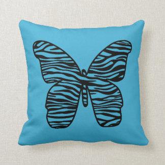 スタイリッシュなターコイズのシマウマのプリントの蝶枕 クッション