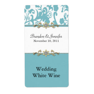 スタイリッシュなダマスク織の結婚式のワインのラベル ラベル