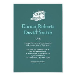 スタイリッシュなティール(緑がかった色)の緑のタイプライターの結婚式招待状 カード