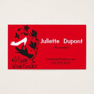 スタイリッシュなテーラー靴屋の赤 名刺