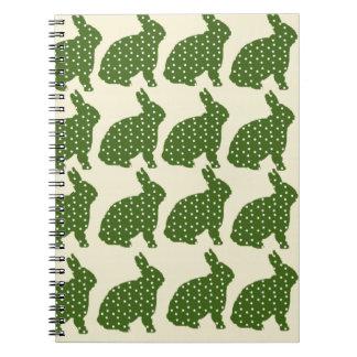 スタイリッシュなヒップスターの緑のカッコいいのバニー ノートブック