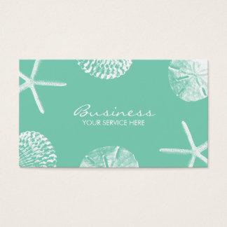 スタイリッシュなビーチのテーマの貝殻のミントの緑 スタンダード名刺