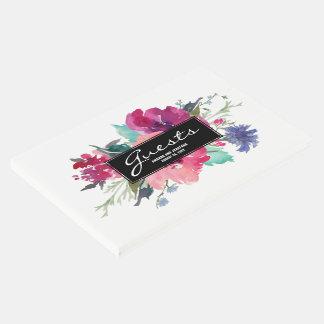 スタイリッシュなピンクおよび紫色の水彩画の花花束 ゲストブック