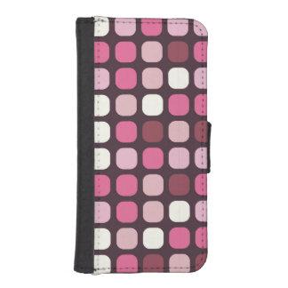 スタイリッシュなピンクの水玉模様の化粧品 お財布型 IPHONE5ケース