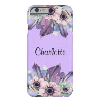 スタイリッシュなピンクの紫色の花の水晶のiPhone6ケース Barely There iPhone 6 ケース