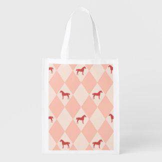 スタイリッシュなピンクのHarleqiunの馬パターン エコバッグ