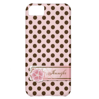 スタイリッシュなピンク及びブラウンの水玉模様のiPhone 5の場合 iPhone5Cケース