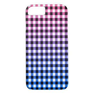 スタイリッシュなピンク、紫色、青のギンガムの点検のデザイン iPhone 8/7ケース
