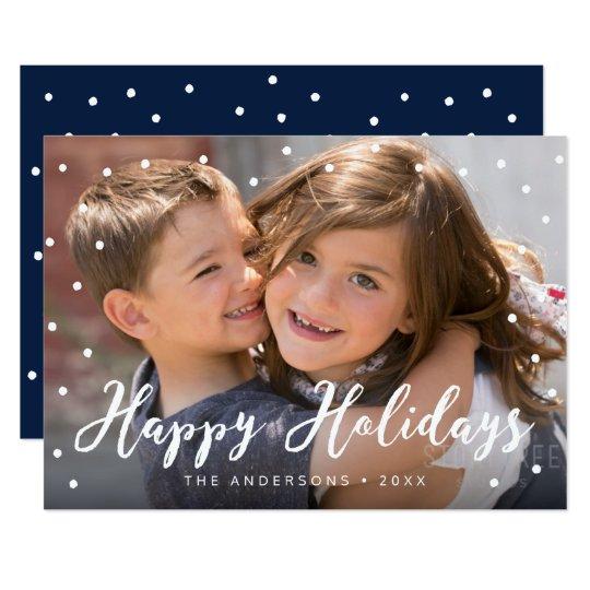 スタイリッシュなブラシの原稿の幸せな休日の写真 12.7 X 17.8 インビテーションカード