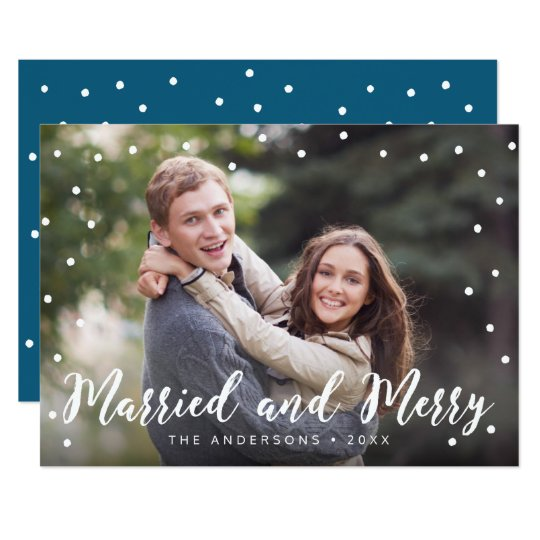 スタイリッシュなブラシの結婚したで、メリーな休日の写真 12.7 X 17.8 インビテーションカード