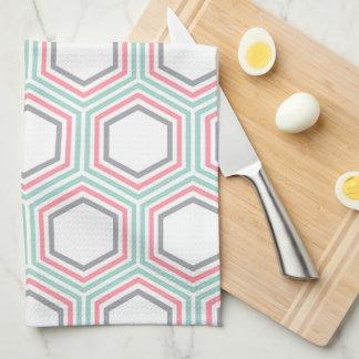 スタイリッシュなミントおよび珊瑚の幾何学的なパターン キッチンタオル