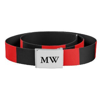 スタイリッシュなモノグラムのな赤くおよび黒い ベルト