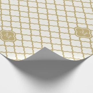 スタイリッシュなモノグラムの金ゴールドのクローバーパターン結婚式 ラッピングペーパー