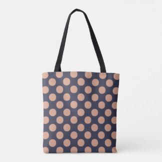 スタイリッシュなモモのピンクの青の水玉模様 トートバッグ