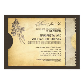 スタイリッシュなヴィンテージのチケットの結婚記念日 12.7 X 17.8 インビテーションカード