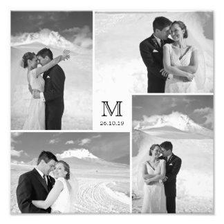 スタイリッシュな中心の正方形のモノグラムの結婚式の写真のプリント フォトアート