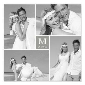 スタイリッシュな中心の正方形のモノグラムの結婚式の写真のプリント 写真アート