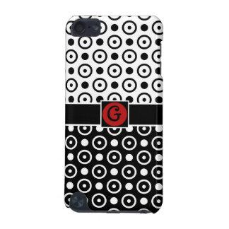 スタイリッシュな半分の黒い半分の白い水玉模様のモノグラム iPod TOUCH 5G ケース