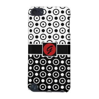 スタイリッシュな半分の黒い半分の白い水玉模様 iPod TOUCH 5G ケース