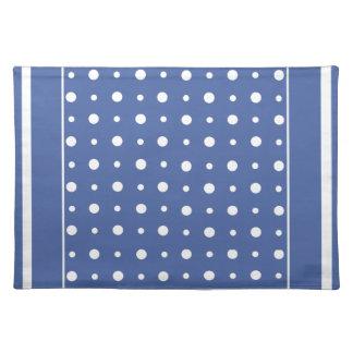 スタイリッシュな布のランチョンマット、濃紺の水玉模様 ランチョンマット
