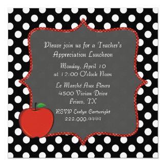 スタイリッシュな水玉模様の先生の昼食会の招待状 カード