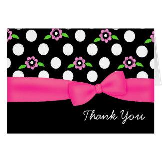 スタイリッシュな水玉模様及びピンクの花のサンキューカード カード