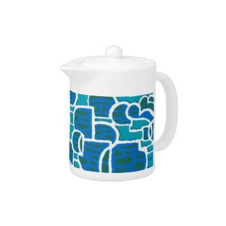 スタイリッシュな水、海緑、白の抽象的な茶ポット