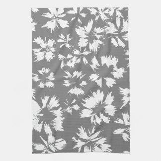 スタイリッシュな灰色および白い花パターン キッチンタオル