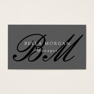 スタイリッシュな灰色の黒い原稿のモノグラムのモダン 名刺