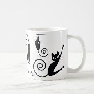 スタイリッシュな猫を持つMug熱狂するな猫の女性、 コーヒーマグカップ