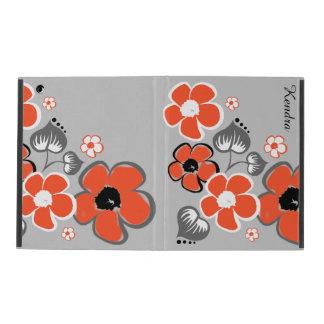 スタイリッシュな珊瑚および灰色の花のiPadの箱 iPad ケース