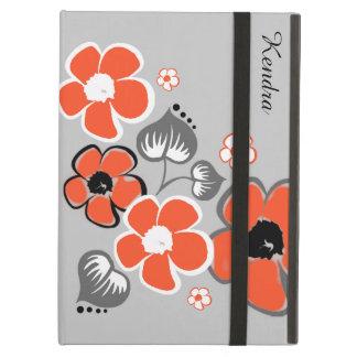 スタイリッシュな珊瑚および灰色の花のiPadは箱を乾燥します iPad Airケース