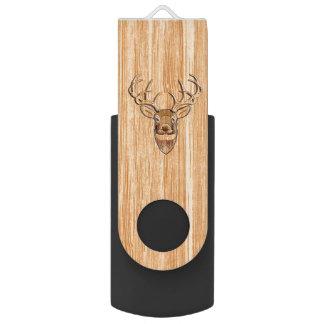 スタイリッシュな白い尾シカの頭部ライト木穀物 USBフラッシュドライブ