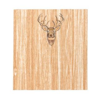スタイリッシュな白い尾シカの頭部ライト木製の穀物Deco ノートパッド