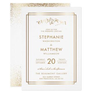 スタイリッシュな白及び金ゴールド山の結婚式 カード