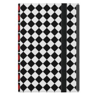 スタイリッシュな白黒の半分のダイヤモンドは赤いバンドを市松模様にします iPad MINI ケース