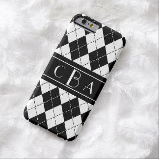 スタイリッシュな白黒アーガイル柄のなモノグラムの BARELY THERE iPhone 6 ケース