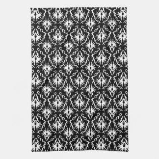 スタイリッシュな白黒ダマスク織パターン キッチンタオル
