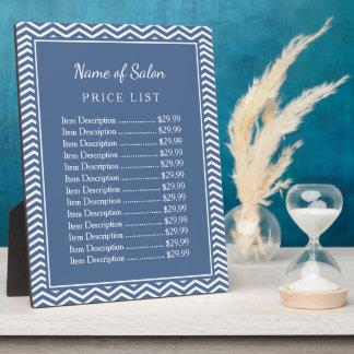 スタイリッシュな石板の青いシェブロンの美容院の値段表 フォトプラーク