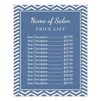 スタイリッシュな石板の青いシェブロンの美容院の値段表 11.4CM X 14.2CM チラシ