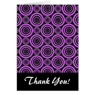 スタイリッシュな紫色および黒い円パターン カード